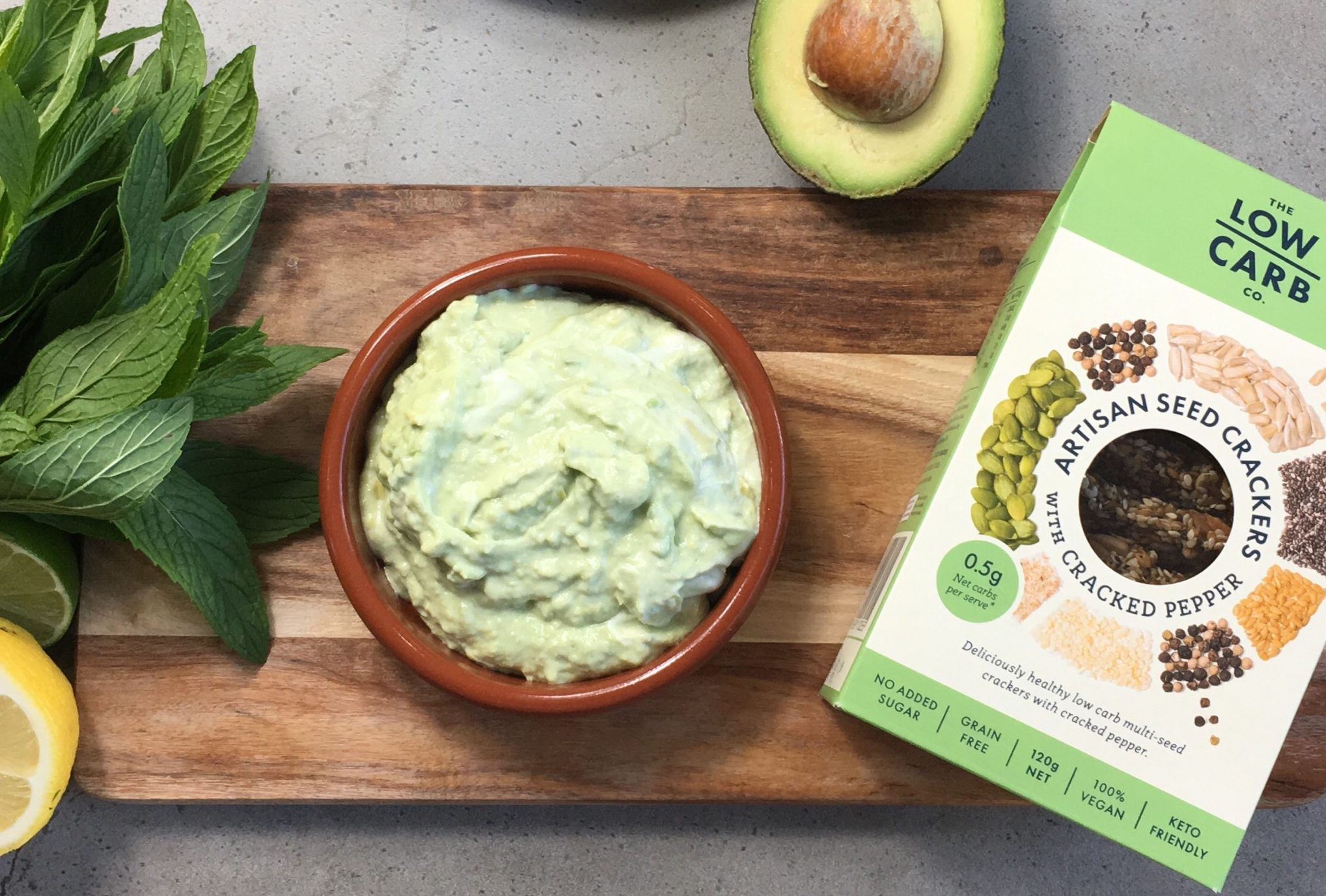 keto banting low carb crackers and avocado dip recipe
